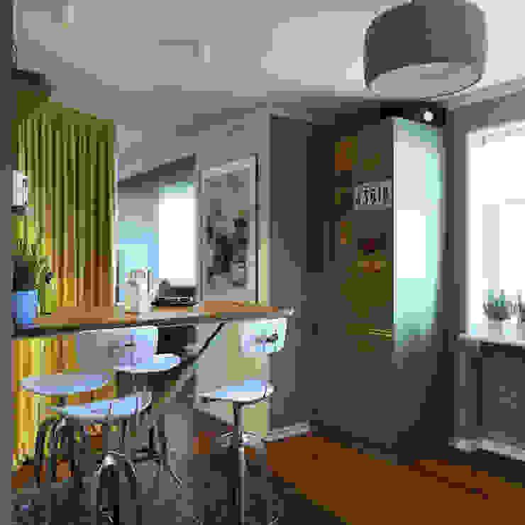 дизайн квартиры 40м2 Кухня в скандинавском стиле от sreda Скандинавский