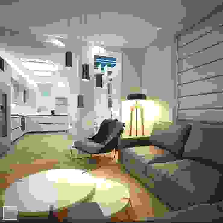 Интерьер гостиной Гостиная в стиле лофт от Burkov Studio Лофт