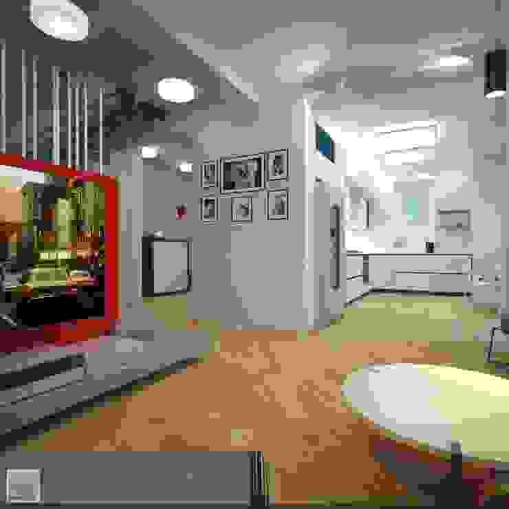 Вид кухни из гостиной Гостиная в стиле лофт от Burkov Studio Лофт