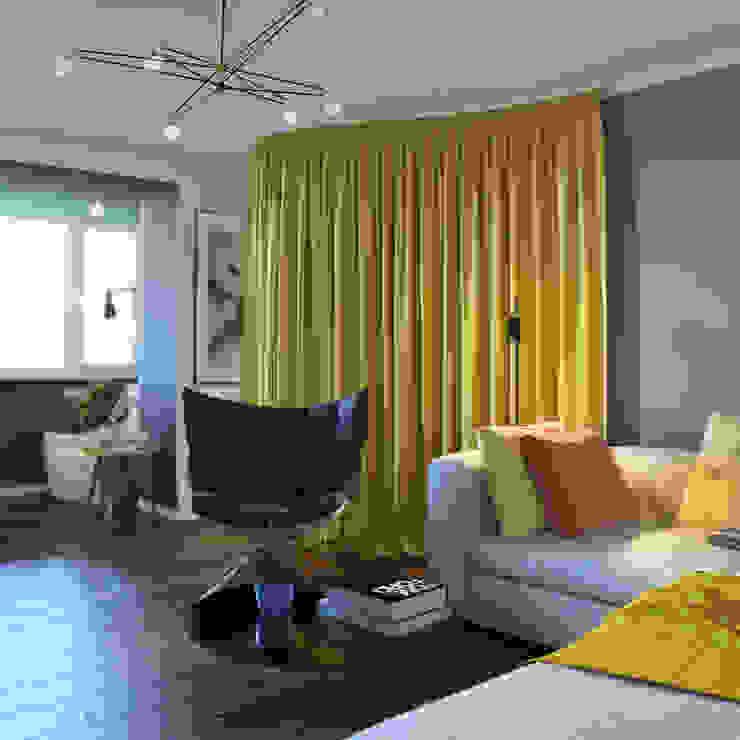 дизайн квартиры 40м2 Гостиная в скандинавском стиле от sreda Скандинавский