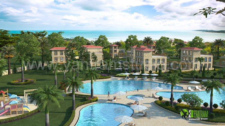3D Exterior Hotel Resort Rendering Design: modern  by Yantram Architectural Design Studio, Modern