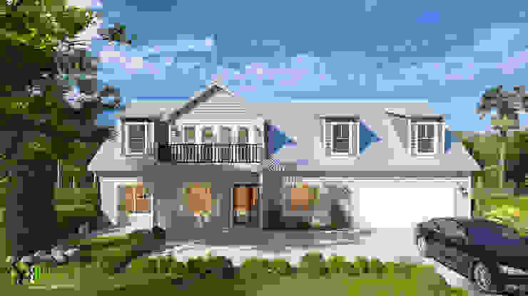 3D Exterior House Design and Rendering: modern  by Yantram Architectural Design Studio, Modern