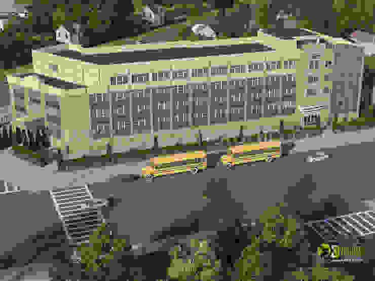 3D Exterior Rendering Education Academy: modern  by Yantram Architectural Design Studio, Modern