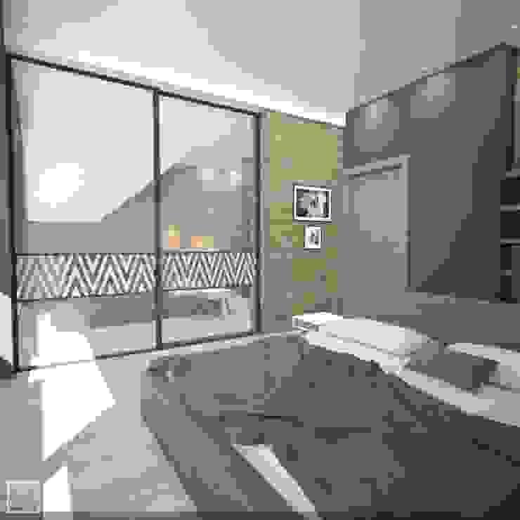 Коттедж в подмосковье Спальня в стиле лофт от Burkov Studio Лофт
