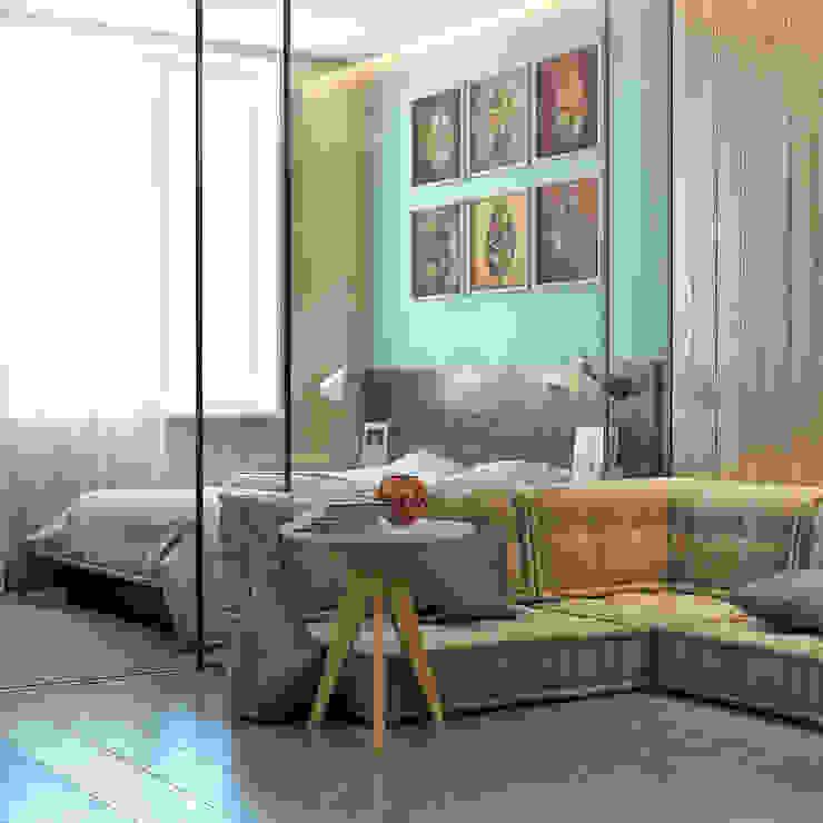 дизайн квартиры 42м2 Спальня в скандинавском стиле от sreda Скандинавский