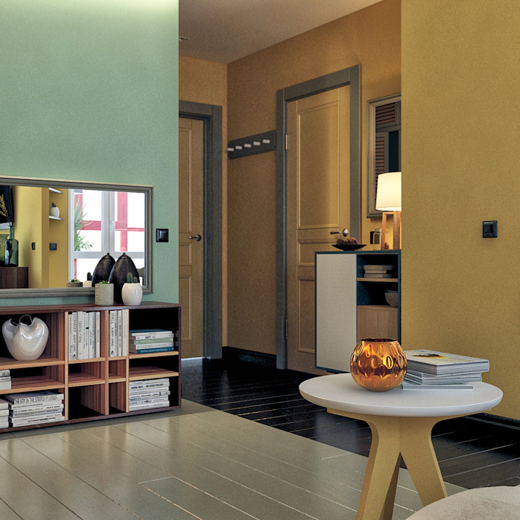 дизайн квартиры 42м2 Коридор, прихожая и лестница в скандинавском стиле от sreda Скандинавский