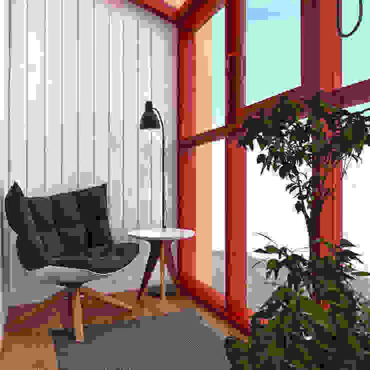 дизайн квартиры 42м2 Балкон в скандинавском стиле от sreda Скандинавский