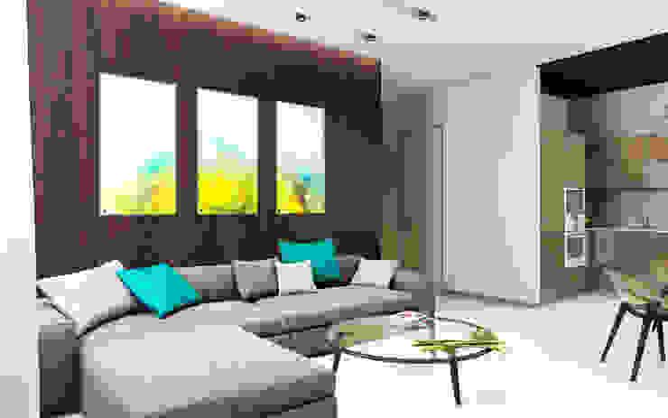 Квартира в ЖК Чемпион-парк Гостиная в стиле минимализм от Михаил Новинский (MNdesign) Минимализм