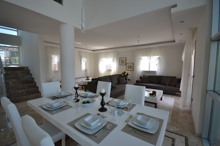 FETHİYE DE BİR VİLLA Modern Yemek Odası AKTİF PERDE Modern