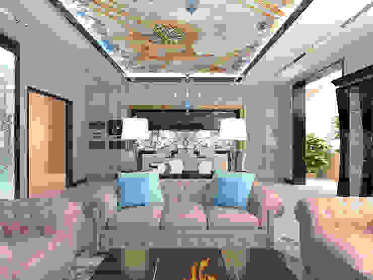 Диванная зона гостиной в квартире Студия дизайна интерьера Руслана и Марии Грин Гостиная в стиле модерн