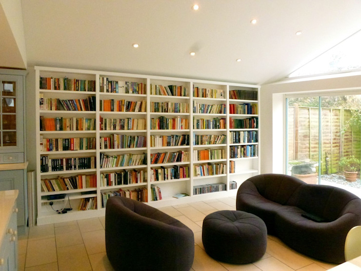 Modern contemporary bookcases fitted in new minimalist extension by Built in Solutions