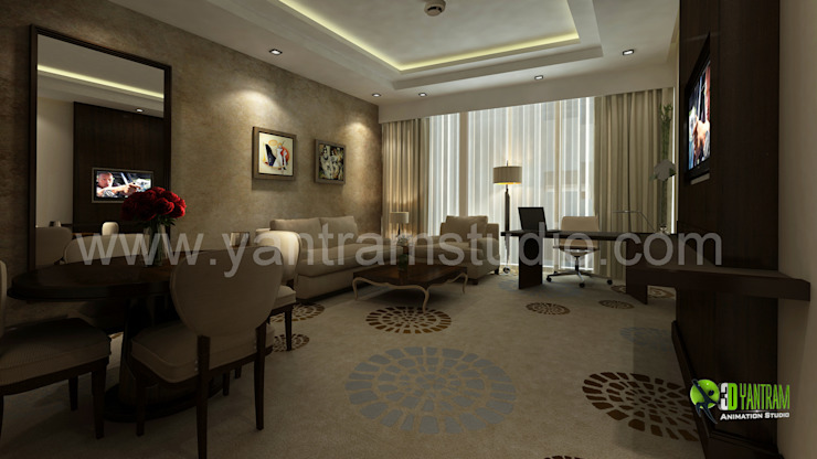 3D Interior Design Rendering For Modern Hotel Room: modern  by Yantram Architectural Design Studio, Modern