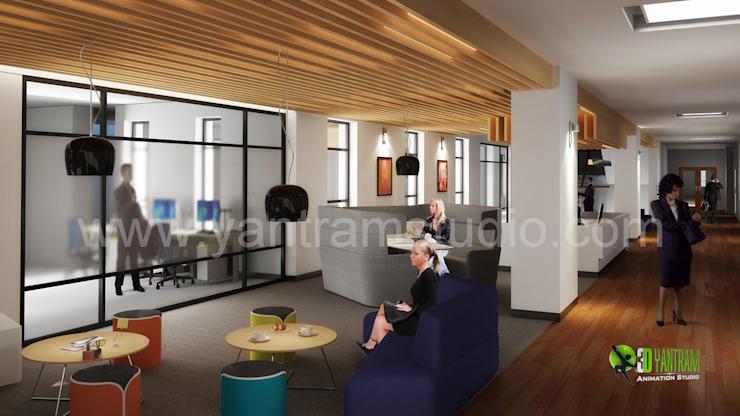 3D Interior Design Rendering For Office Space: modern  by Yantram Architectural Design Studio, Modern