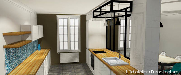 インダストリアルデザインの キッチン の Lüd studio d'architecture インダストリアル