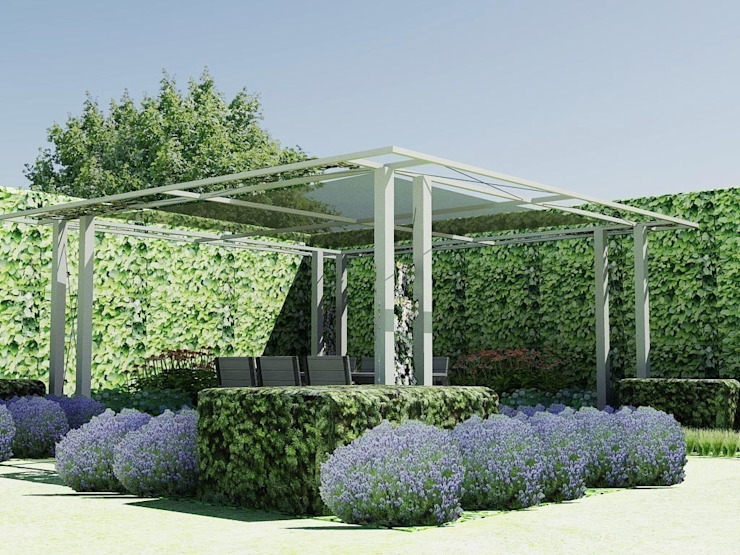 Schaduwlounge over het terras:  Tuin door Bladgoud-tuinen