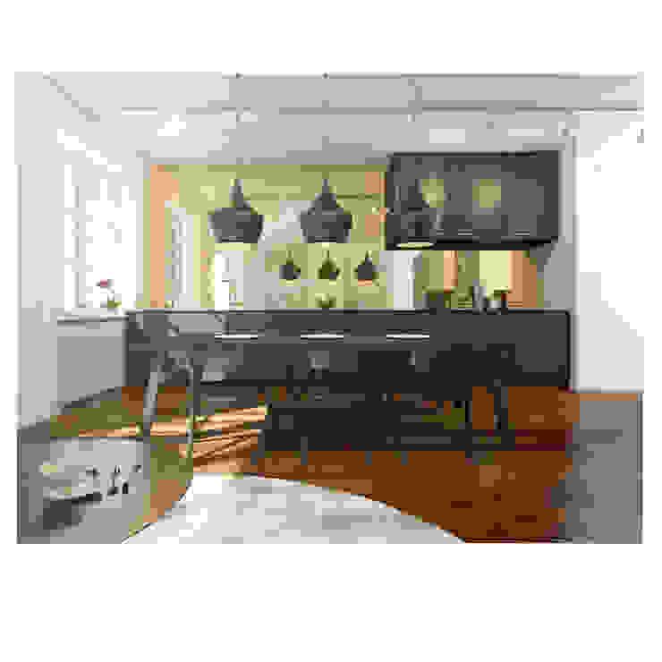 Aranżacja kuchni z wykorzystaniem lamp z serii Castelle. Nowoczesna jadalnia od 4FunDesign.com Nowoczesny