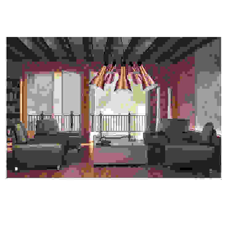 Aranżacja pomieszczenia z wykorzystaniem lampy Auletta. Nowoczesny salon od 4FunDesign.com Nowoczesny