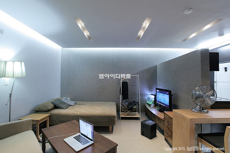 영등포구 당산동 19평형 원룸형 아파트: MID 먹줄의  침실