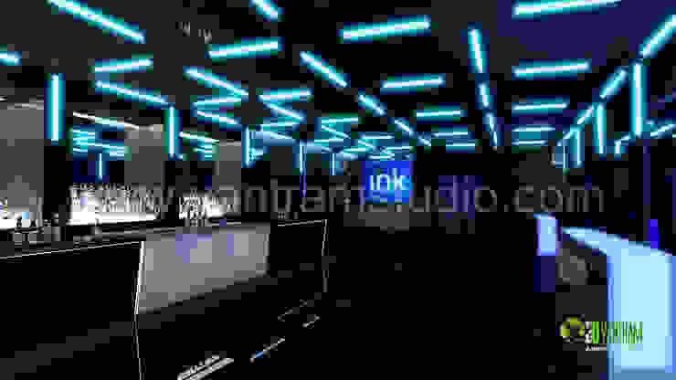3D Interior Design Rendering For Pub Bar: modern  by Yantram Architectural Design Studio, Modern