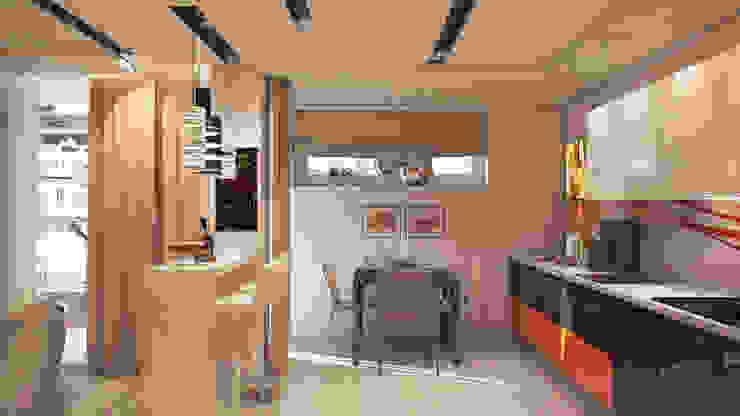 Гостиная-Кухня Кухня в стиле минимализм от tatarintsevadesign Минимализм