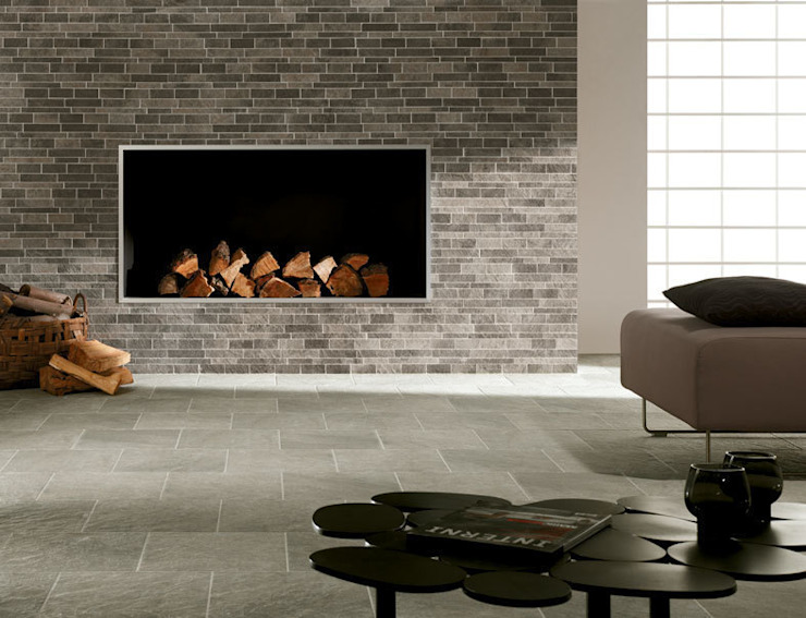 Structure Mosaic Fireplace Feature by Target Tiles Minimalist