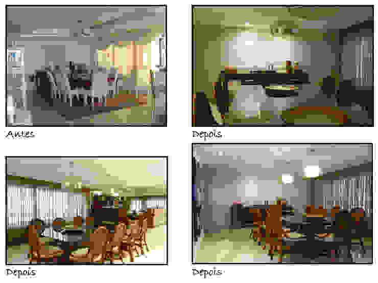 Antes e Depois Salas de jantar rústicas por Celia Beatriz Arquitetura Rústico