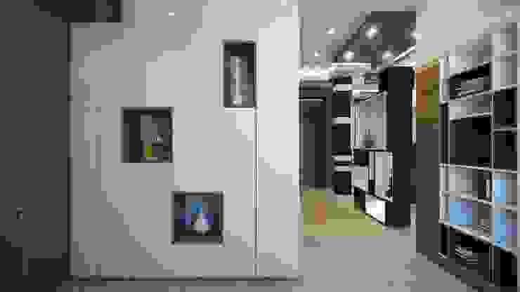 Коттедж в г. Екатеринбург Коридор, прихожая и лестница в эклектичном стиле от E_interior Эклектичный