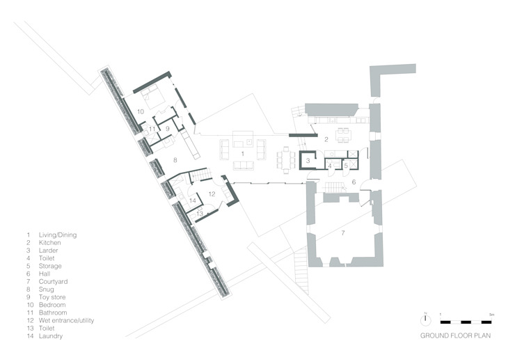 Ground Floor Plan de WT Architecture Moderno