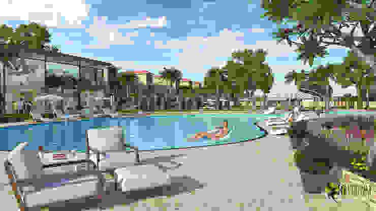 3D Exterior Rendering Resort and Swimming Pool: modern  by Yantram Architectural Design Studio, Modern