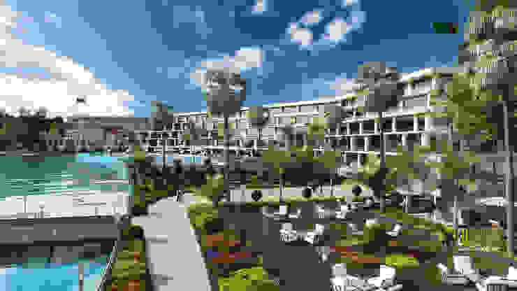 3D Exterior Rendering Resort Design: classic  by Yantram Architectural Design Studio, Classic