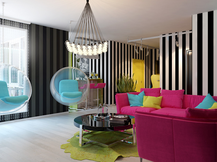 Квартира в стиле Энди Уорхола Гостиные в эклектичном стиле от Студия дизайна интерьера Маши Марченко Эклектичный