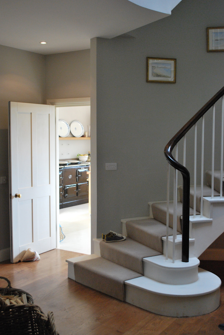 The foot of the stairs Giles Jollands Architect Classic style corridor, hallway and stairs