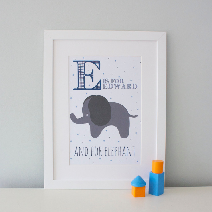 E is for Elephant :: Personalised Print Hope & Rainbows Nursery/kid's roomAccessories & decoration