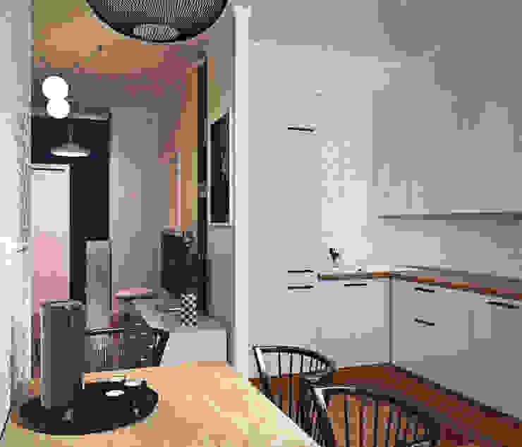 дизайн квартиры 50м2 Кухня в скандинавском стиле от sreda Скандинавский