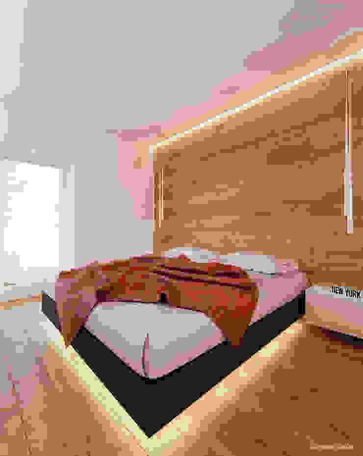 Projekt sypialni w drewnie Minimalistyczna sypialnia od Ale design Grzegorz Grzywacz Minimalistyczny