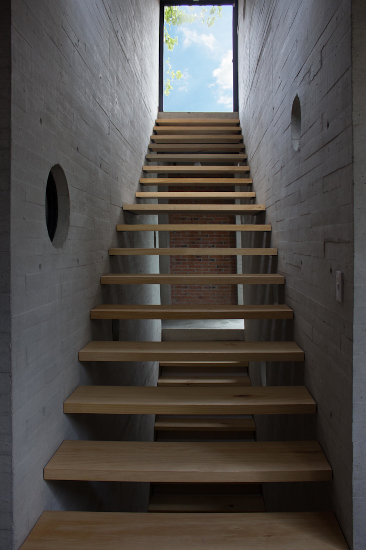 escaleras hacia roof garden Pasillos, vestíbulos y escaleras modernos de ludens Moderno