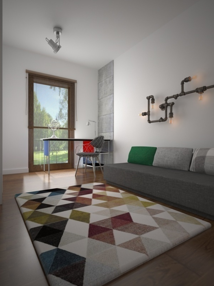 Dom w Łodzi Nowoczesny pokój multimedialny od Kameleon - Kreatywne Studio Projektowania Wnętrz Nowoczesny