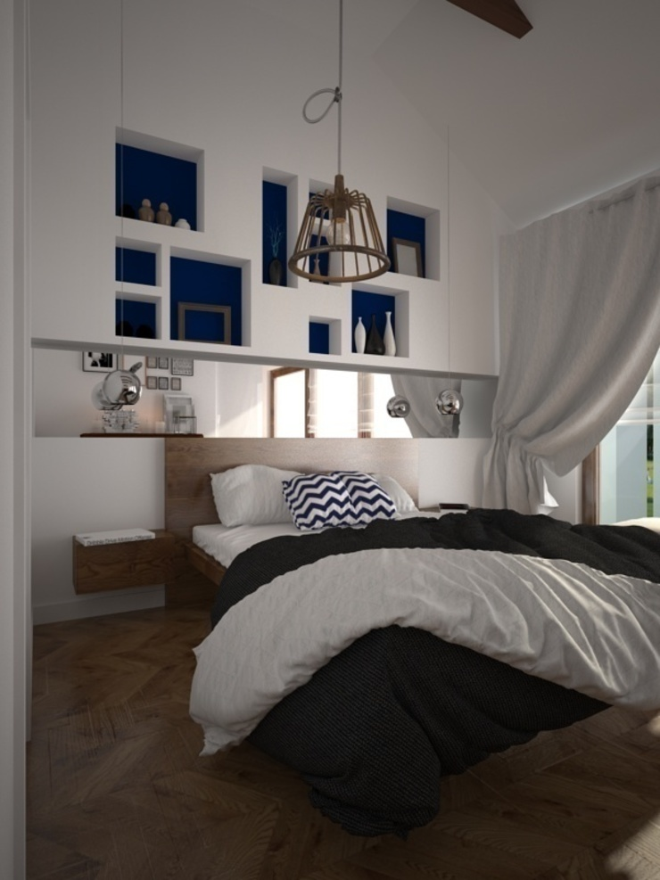 Dom w Łodzi Nowoczesna sypialnia od Kameleon - Kreatywne Studio Projektowania Wnętrz Nowoczesny