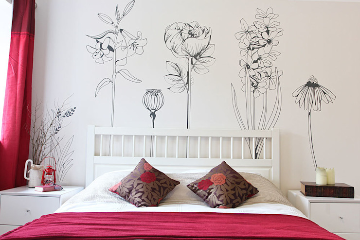 Hand drawn flower (pack 1) wall stickers Oleh Vinyl Impression Eklektik