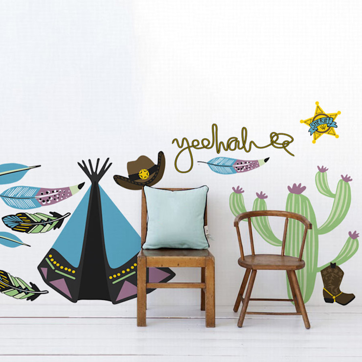 Cowboys and Indians wall sticker pack por Vinyl Impression Moderno