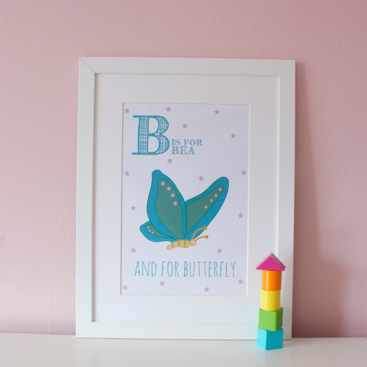 B is for Butterfly :: Personalised Print Hope & Rainbows Nursery/kid's roomAccessories & decoration