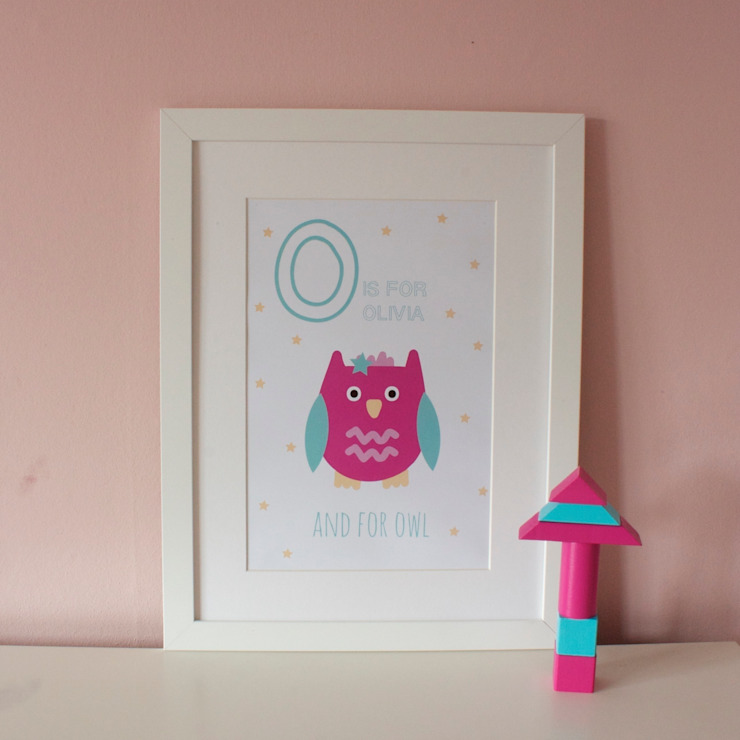 O is for Owl {Pink} :: Personalised Print Hope & Rainbows Nursery/kid's roomAccessories & decoration