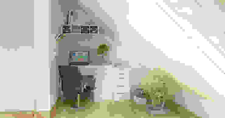 Salon z biurem i kuchnią na poddaszu - styl skandynawski Skandynawskie domowe biuro i gabinet od D2 Studio Skandynawski