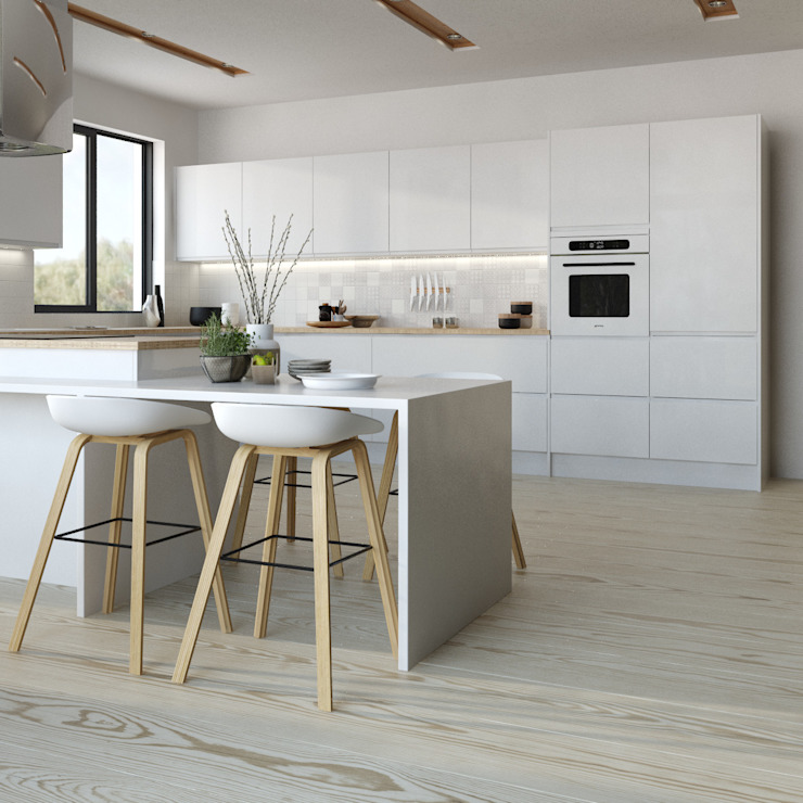 Manhattan gloss kitchen in white od Kitchen Stori Nowoczesny