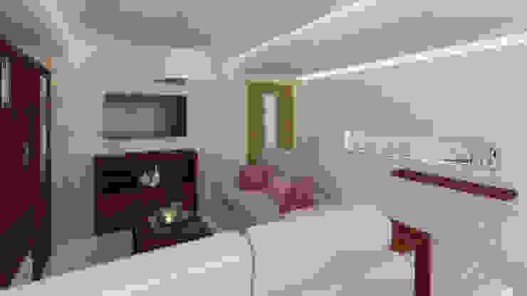 Render Propuesta Salones de estilo moderno de AG INTERIORISMO Moderno Madera Acabado en madera
