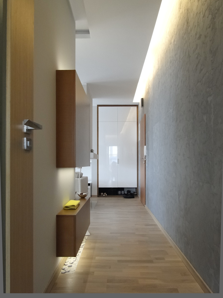 korytarz Nowoczesny korytarz, przedpokój i schody od Inspiration Studio Nowoczesny