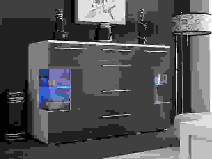 Aparador de diseño Veronica gris y blanco de Domensino Moderno