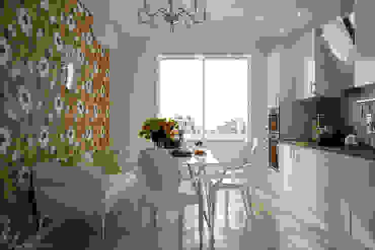 """Дизайн кухни в стиле """"фьюжн"""" в ЖК """"Екатеринодар"""" (Краснодар) Кухня в стиле модерн от Студия интерьерного дизайна happy.design Модерн"""