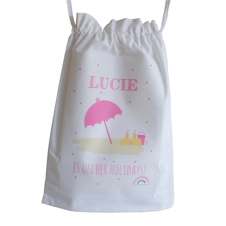 Holiday Drawstring Bag :: Umbrella Hope & Rainbows Stanza dei bambiniContenitori