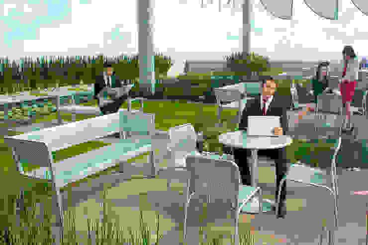 Torre Murano. Edificio corporativo con Azotea Verde de 700 m2 para los usuarios del edificio. Balcones y terrazas modernos de Azoteas Verdes Moderno